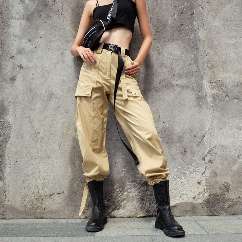Liva Streetwear Cargo Pants Women Casual Joggers Khaki High Waist Loose Female Trousers Sweatpants Ladies Pants Capri Pantalones