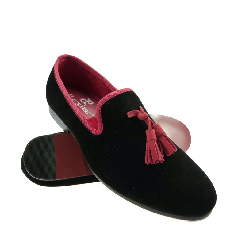 941612f73e7 velvet shoes for men casual red loafer slippers black tassel US size 6 13  free shipping-in Women s Flats from Shoes on Aliexpress.com