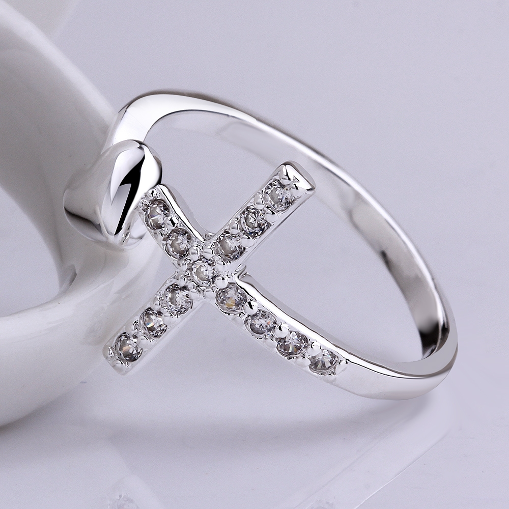 925 silver rings for women cross heart love crystal natural stone