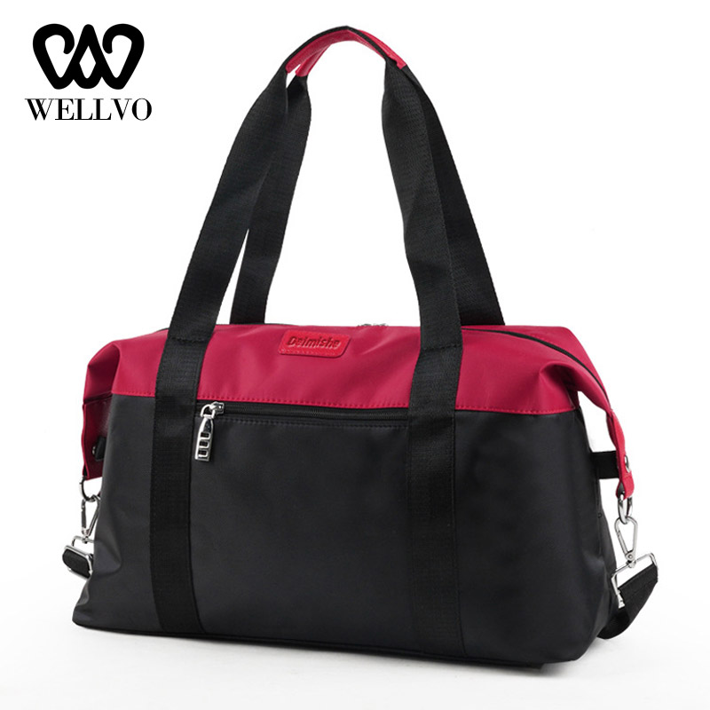 Women Fashion Carry On Luggage Travel Bag Oxford High Capacity Soft Top-handle Fitness Handbag Weekender Shoulder Bags XA762WB