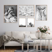 ФОТО nordic poster highland cow abstract girl wall art canvas painting posters and prints wall pictures for living room unframed