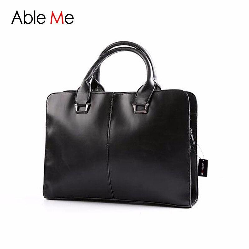 ФОТО AbleMe 2017 New Elegant Men Tote Bag Men Briefcase Large Capacity Business Shoulder Leather Messenger Bags Handbag Laptop Bag