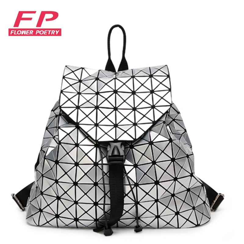 Fashion Women Drawstring Backpack Diamond Lattice Geometry Quilted Ladies Backpack Sac Bag For Teenage girl Bao Bao School Bags