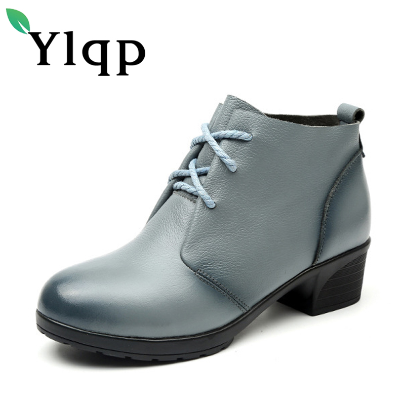 2017 New Vintage Soft Martin Genuine Leather Women Lace Up Ankle Snow Boots Cowboy Riding Warm Fur Shoes Ladies Mujer Chaussure