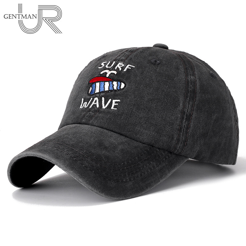 New Unisex High Quality Cap Surf Wave Embroidered Washed Cotton Baseball Cap Men Women Casual Adjustable Retro Snapback Hats