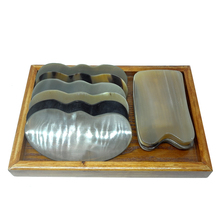 New Arrival 100% yellow ox horn thicken high polishing beauty guasha tool 1pcs reniform and square plate