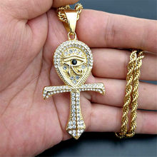 Egyptian Ankh Cross Pendant Necklace For Women/Men Gold Color Stainless Steel Eye of Horus Necklace Iced Out Bling Egypt Jewelry(China)