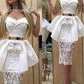 Sexy Sheer Lace Destacável Train Vestidos de Cocktail com Cinto de Ouro 2016 Branco Querida Bainha Festa Vestido de Noiva Chá De Comprimento Do Vestido