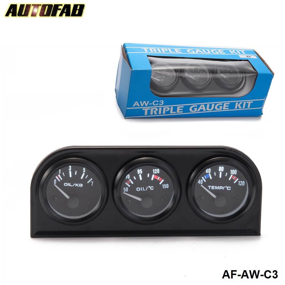 New Racing Triple Gauge Kit Amp Water Temp Oil Car /& Truck Parts Automotive