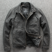 Free shipping.Brand new classic leather jacket.mens casual vintage thicker coat.cowhide warm jackets.Stone mill motor plus size