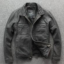 Freies verschiffen. marke neue klassische leder jacke. herren casual vintage dicker mantel. rinds warme jacken. stein mühle motor plus größe