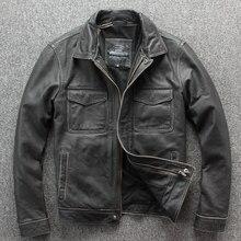Miễn phí vận chuyển. thương hiệu Mới cổ điển phối da. khoác nam Vintage dày hơn áo khoác. da bò ấm áo khoác. đá cối xay xe máy Plus kích thước