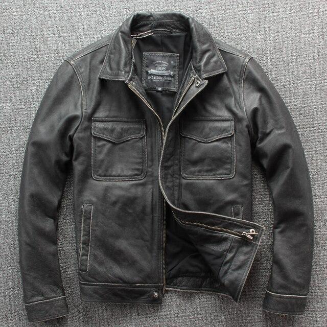 Ücretsiz kargo. marka yeni klasik deri ceket. erkek casual vintage kalın ceket. dana sıcak ceketler. taş değirmen motoru artı boyutu
