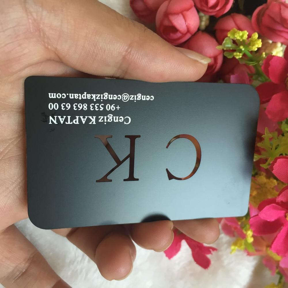 Custom Personal  Metal Black Business Cards Printing  , 100pcs A Lot  Deluxe Metal Business Card Visit Card Membership Card