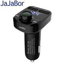 JaJaBor Car MP3 Audio Player Bluetooth Car Kit FM Transmitter Handsfree Calling 5V 4.1A Dual USB Car Charger Phone Charger(China)