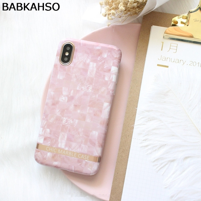 BABKAHSO Light pink square marble Case For iPhone 6 6Plus...