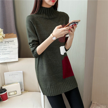 d55400e6714 2018New koresn sweater full sleeved color matching sweater women half  turtleneck casual pullover women sweater coat