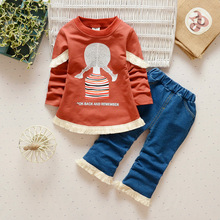 2017 New Spring Baby Girl Clothing Set for Children cute girl Suit 2PCS Kids Long Sleeve Twinset Top T Shirt +jeans Pants sets