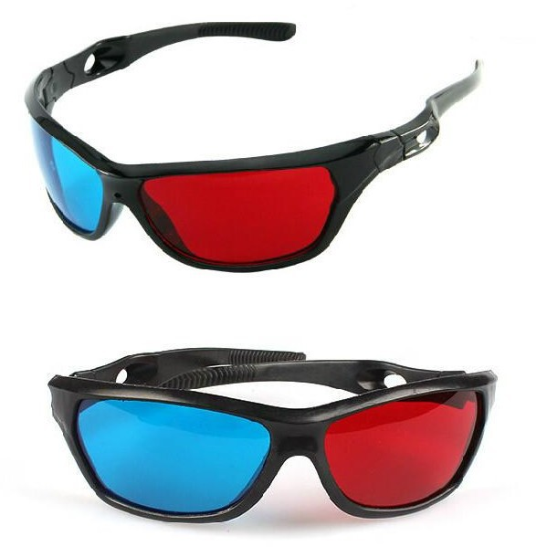 ZUCZUG new  Black Frame Universal 3D Plastic glasses/Oculos/Red Blue Cyan 3D glass Anaglyph 3D Movie Game DVD vision/cinema 2