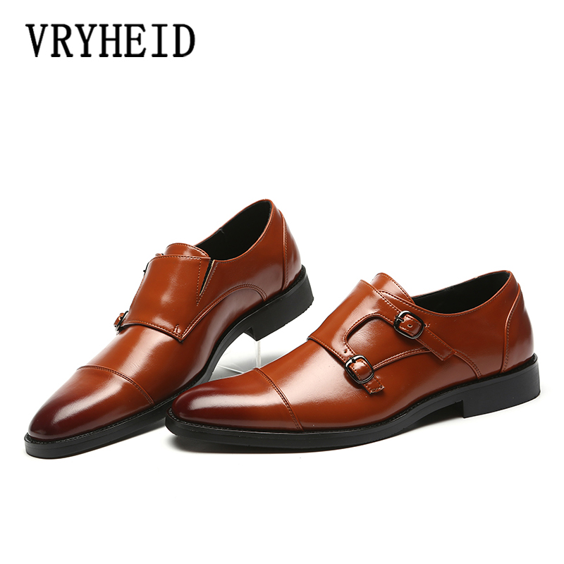 VRYHEID Brand Luxury Leather Men Oxford Shoes Pointed Toe Men Dress Shoes With Double Buckle Male Wedding Shoes Big Size 37-48VRYHEID Brand Luxury Leather Men Oxford Shoes Pointed Toe Men Dress Shoes With Double Buckle Male Wedding Shoes Big Size 37-48