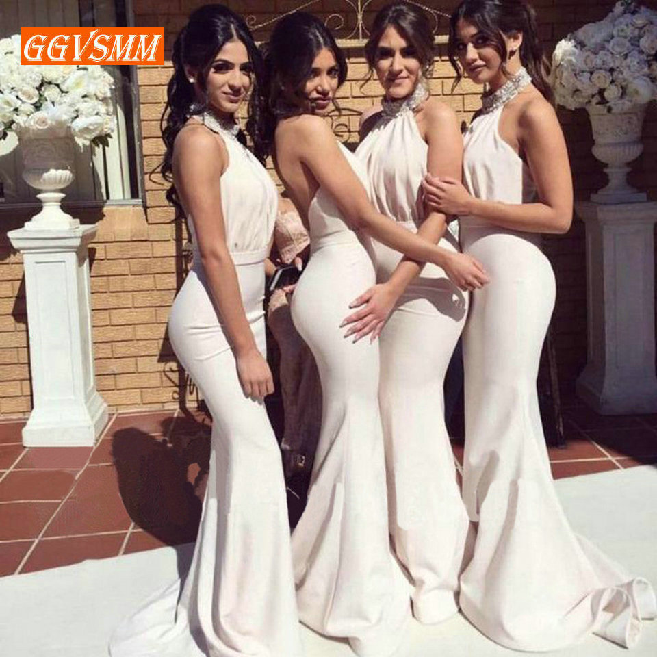 Fashion Ivory Long   Bridesmaid     Dress   2019 Wedding Party Gown Halter Neck Elastic Satin Mermaid Floor Length Pageant Women   Dresses