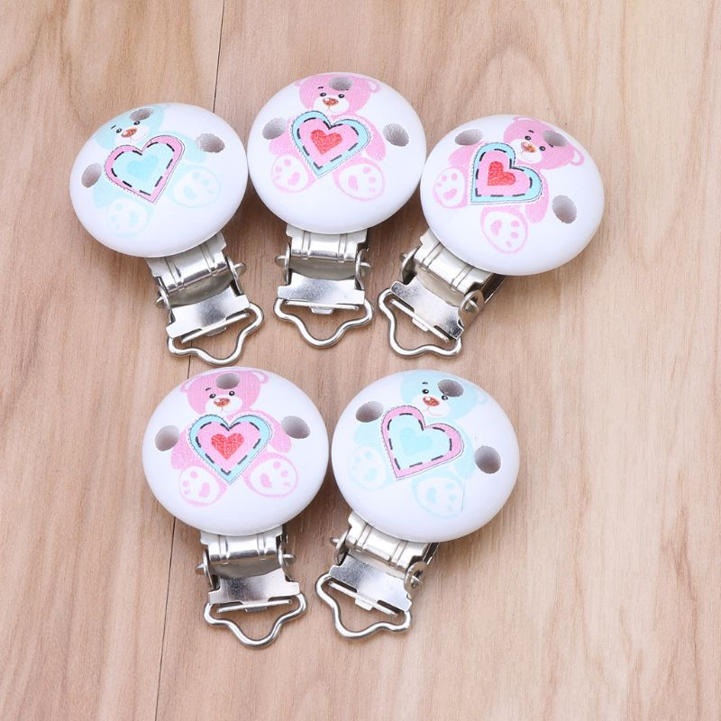 In Considerate 5pcs Wooden Baby Pacifier Clip Ecofriendly Crafts Soother Holder Dummy Clips Newborn Teether Toys Baby Gift Random Delivery Fragrant Flavor