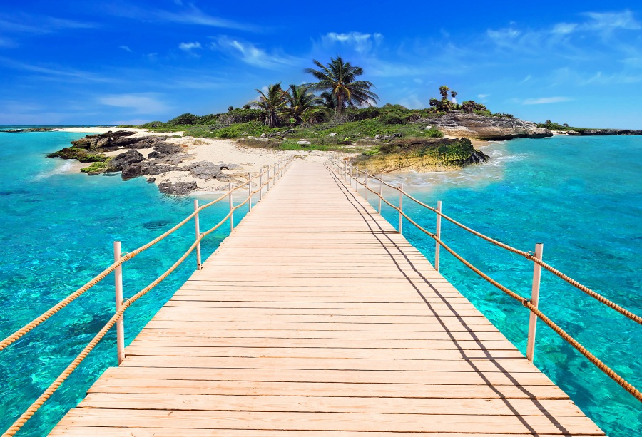 Laeacco Tropical Sea Wooden Bridge Island Scenic Photography Backgrounds Customized Photographic Backdrops For Photo Studio
