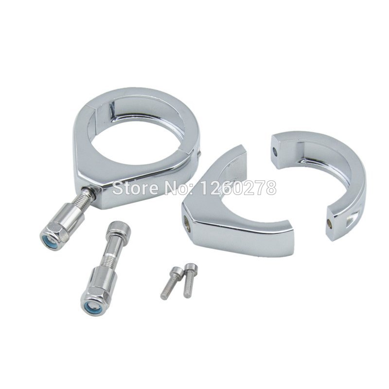 Motorcycle Pair Chrome 49mm Turn Signal Fork Clamps For Harley Dyna FXDF 2008-2015 Street Bob FXDB 2007-2015