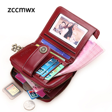 Zccmwx  2018 New Wallet Female Small Women Short Quality Coin Purse Button Flower Hardware