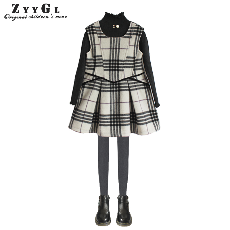 ZYYGL Girls Autumn and Winter Dress 2018 New British Style Children Plaid Fur Kids Clothes Dress baby girls clothing 2-10Y girls full sleeve dress for autumn and winter children army green dress causal dress for baby kids outfit clothes