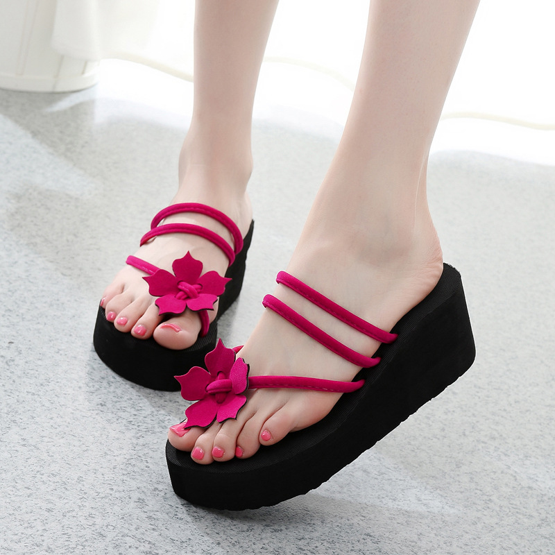 Summer Women Flip Flops Slippers High Heel Platform Wedge Thick Beach Casual Thong Sandals Shoes New hotapei sexy black v neck lace up cover up dresses lc42090 women 2018 new beach dress hollow out crochet tunic beachwear vestido
