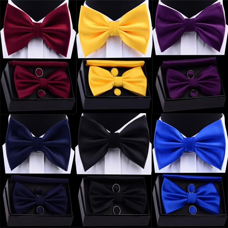 GUSLESON Men's Silk Adjustable Pocket Square Cufflinks Bow Tie Set Waterproof Solid Plain Bowtie Handkerchief Set With Box