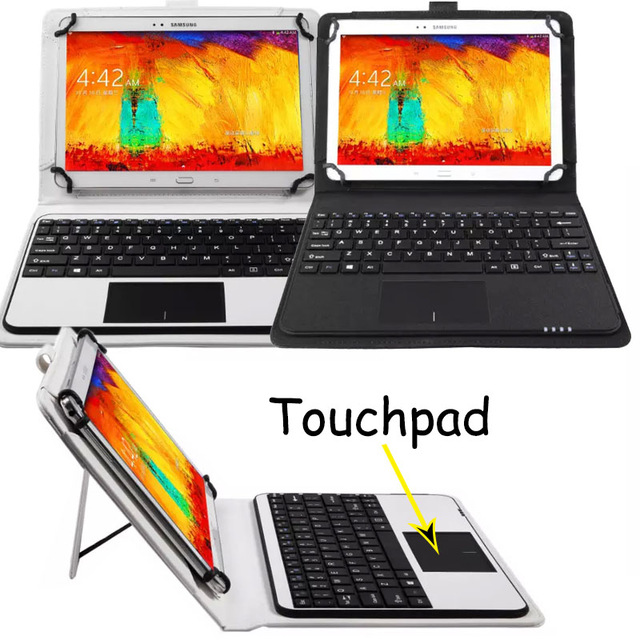 3in1 Universal Dechatable Bluetooth Keyboard w/ Touchpad & PU Leather Case Cover For tablets 8.9''-10.6'' Android/Windows/IOS neworig keyboard bezel palmrest cover lenovo thinkpad t540p w54 touchpad without fingerprint 04x5544