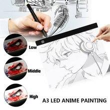 A3 светодиодный светильник для рисования, коробка для анимации, набросков, рисования, Ультратонкий портативный светильник, USB Мощный светодиодный чертежный щит