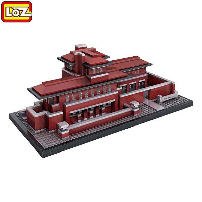 LOZ Diamond Building Block 2115PCS Well Known Architecture Villa Robie House Block Model Building Kits Educational Toys loz 9402 transformation optimusprime diamond bricks minifigures building block best legoelieds toys