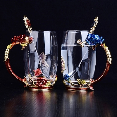 Water Glass Rose crystal glass cup home heat resistant tea cup coffee cup gift cup
