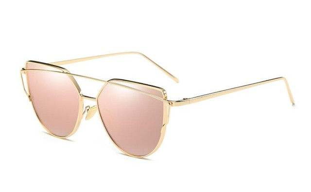 5dab4ac259 Hot Sale Mirror Flat Lense Women Cat Eye Sunglasses Classic Brand Designer  Twin-Beams Rose