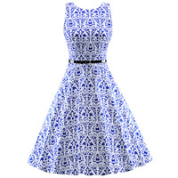 Abbille Vrouwen 2017 Audrey Hepburn Swing Pin Up Womens Print Retro Casual Party Gewaad Rockabilly 60 s 50 s Vintage jurken Volwassen
