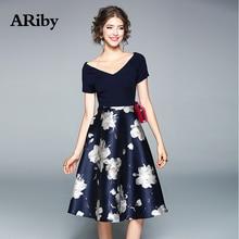 Women Dress Party Elegant 2019 Summer Fashion High Street V-collar Short Sleeve Slim Printed+Solid Patchwork A-Line