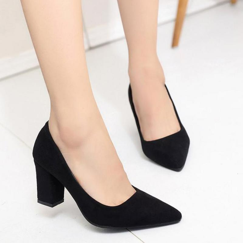 High Heels Women Pumps Sexy Nightclub Wedding casual shoes Pointed Toe Parties Dress Slip on Summer Flock Shallow Square Heel