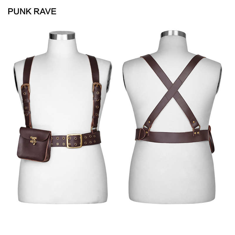 PUNK RAVE Steampunk Biker Cowhide 100% Men's Cross Strap Clips Gothic Fashion Brand Black Leather Bag Waist Mens Belt Bag