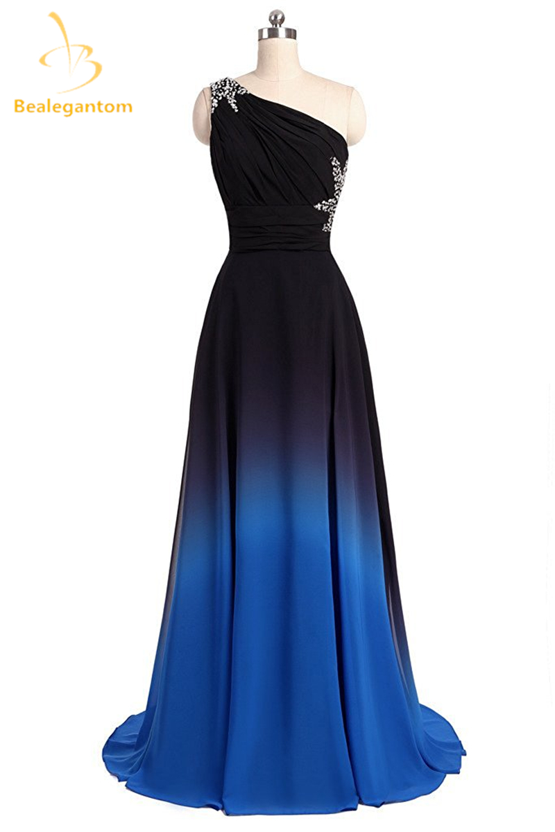 Bealegantom New Sexy Long Chiffon   Prom     Dresses   2019 With One Shoulder Lace Up Formal Evening Party Gown Vestido Longo QA1564