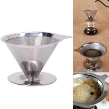 Stainless Steel Mesh Coffee Filter Paperless Pour Over Cone Dripper Reusable Durable
