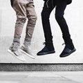 Cremallera lateral Cordón Rouser Basculador Pantalones de Los Hombres de Color Caqui Streetwear Diseñador Slim Fit Hip Hop Harem Pant