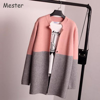 Women Korean Fashion Color Block Long Knitted Cardigans Ladies Patchwork Loose Wool Knitted Cardigan Coat Spring