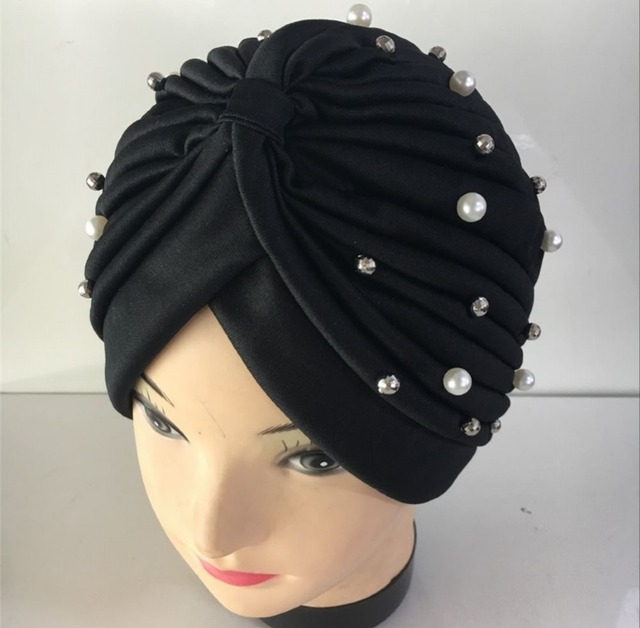 Yyun Muslim Turban Headband Women Pearls Embellishment Arab Head Wrap  Beanie Skullies Ladies Cancer Chemo Hat Knotted Headband d81a6a58d6b