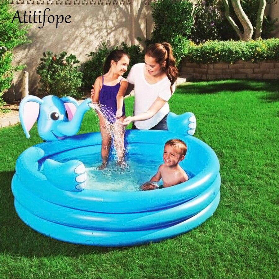 Éléphant en forme de haute qualité piscine gonflable couleurs bleues enfants boule pit été eau jouer piscine bon enfants cadeau d'anniversaire