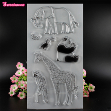 Elephant Panda Giraffe Parrot Frog Scrapbook Clear Stamp photo cards account rubber stamp Scrapbook Embossing Folder card Stamp