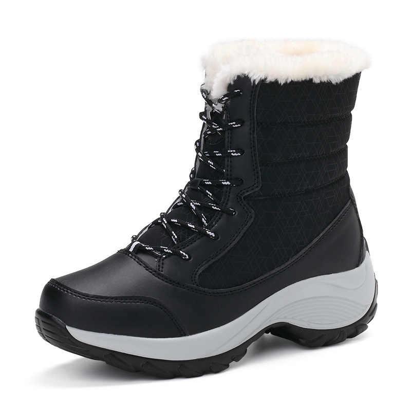 Ukuran Besar Sepatu Bot Musim Dingin Hangat Wanita Sepatu Bot Salju Musim Dingin Wanita Tetap Hangat Sepatu Wanita Mid-Calf Platform Boots 2019 wanita Sepatu M681