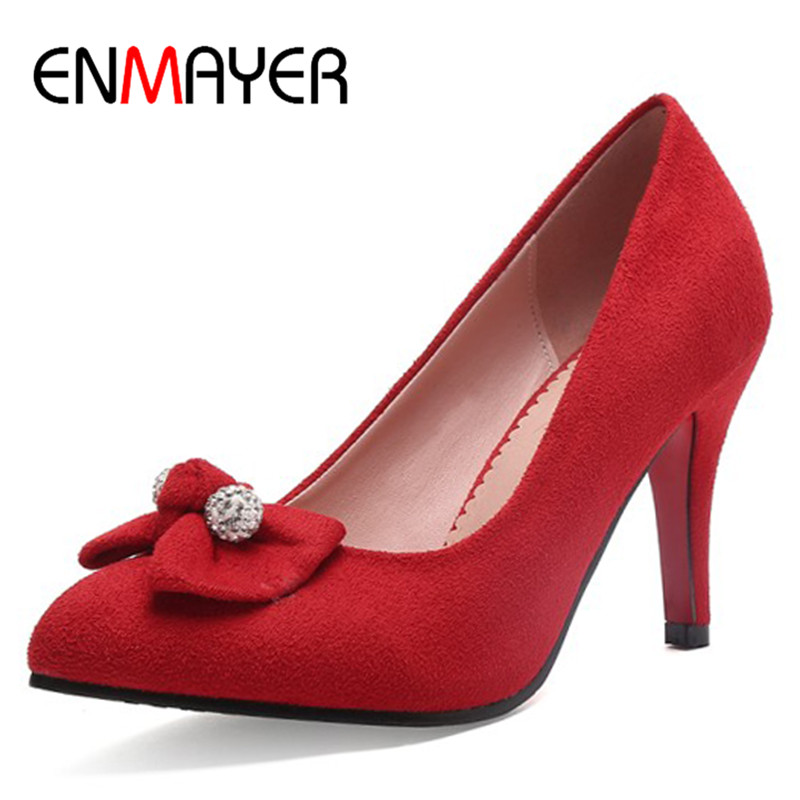 ENMAYER Office Ladies Shoes Woman High Heels Pumps Round Toe Plus Size 34-43 Bowties Black Red Blue Wine red  Shoes enmayer cross tied shoes woman summer pumps plus size 35 46 sexy party wedding shoes high heels peep toe womens pumps shoe